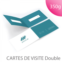 Carte de visite double 350g - pliée rainage